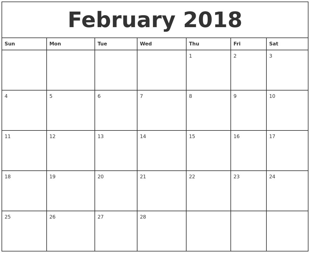 February 2018 Printable Monthly Calendar