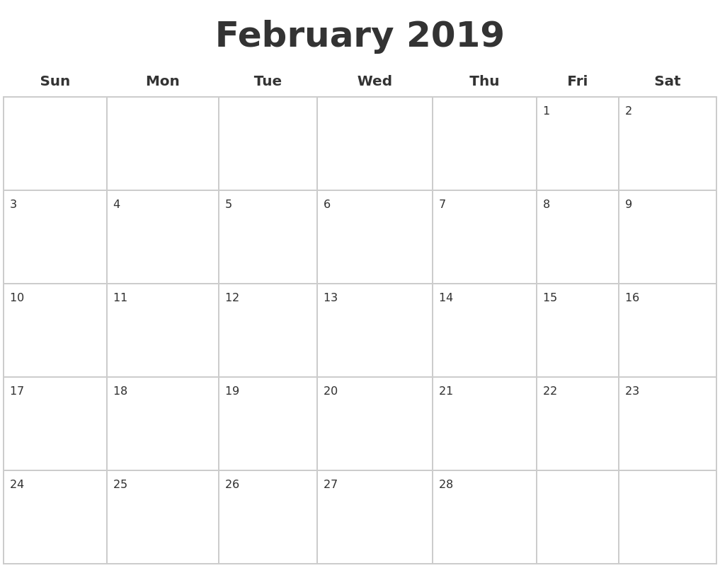 February 2019 Blank Calendar Pages