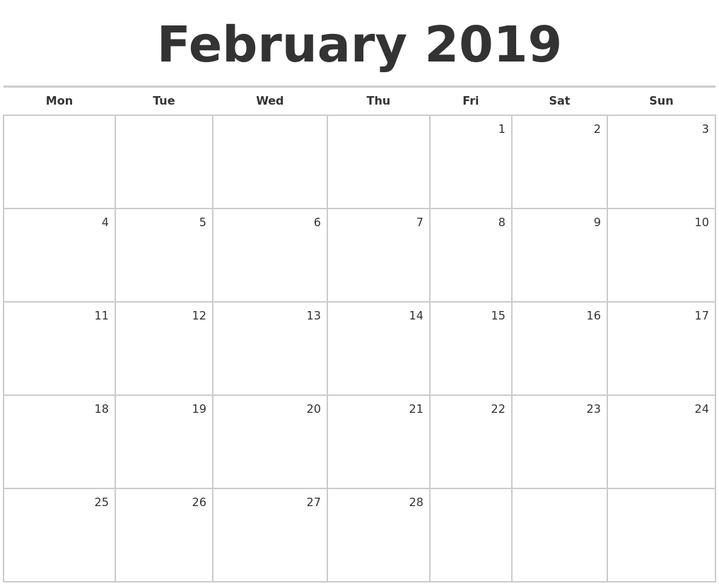 February 2019 Blank Monthly Calendar PDF's