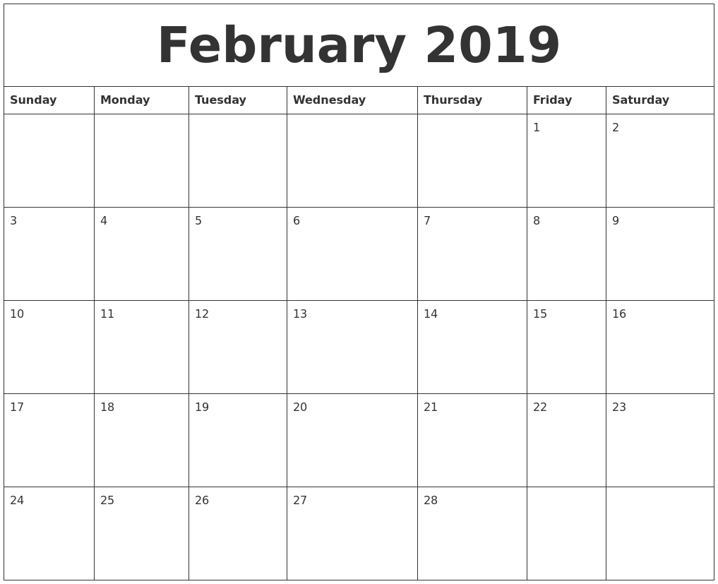 february 2019 blank monthly calendar template