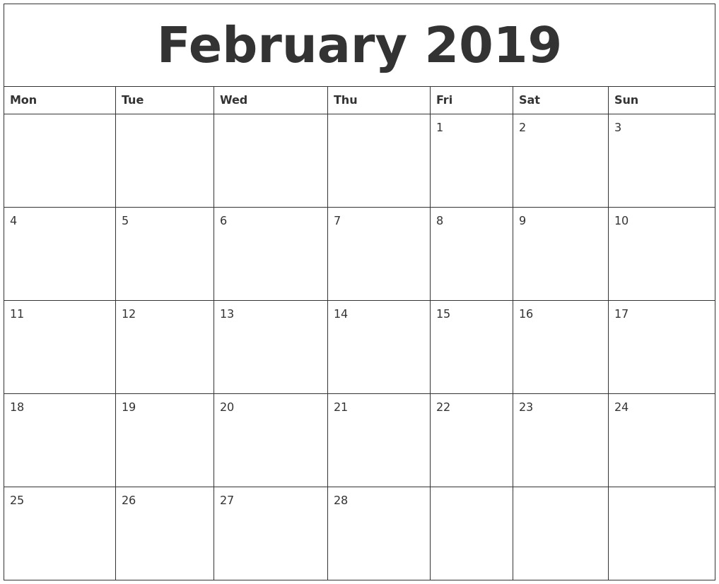 2019 blank monthly calendar template february 2019 blank monthly calendar template saigontimesfo