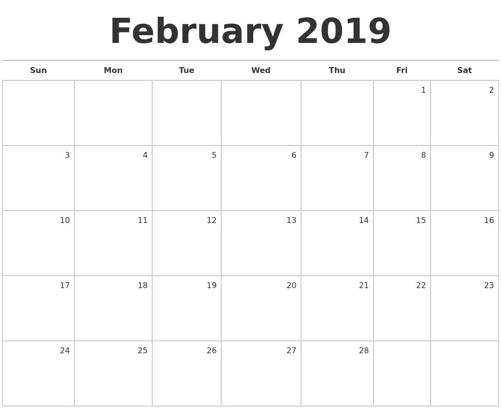 Feb Month Calendar 2019.February 2019 Blank Monthly Calendar
