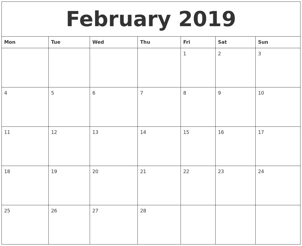 February 2019 Calendar Monthly