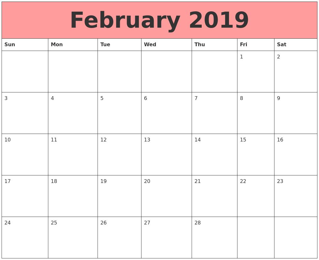 Image result for february 2019 calendar