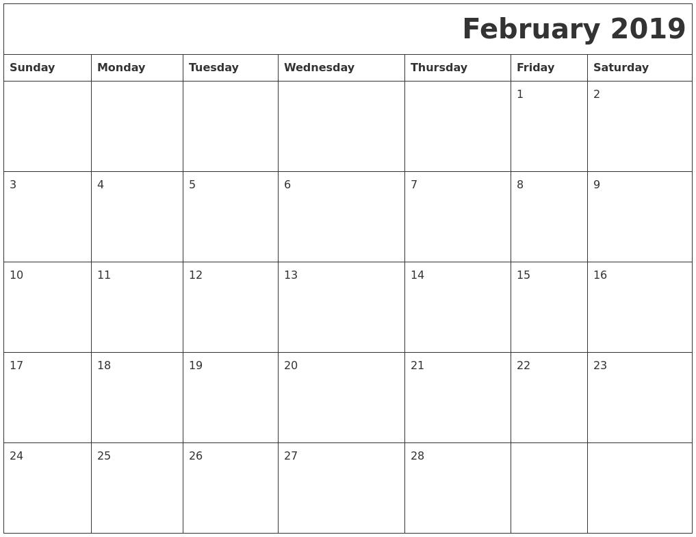 february 2019 download calendar