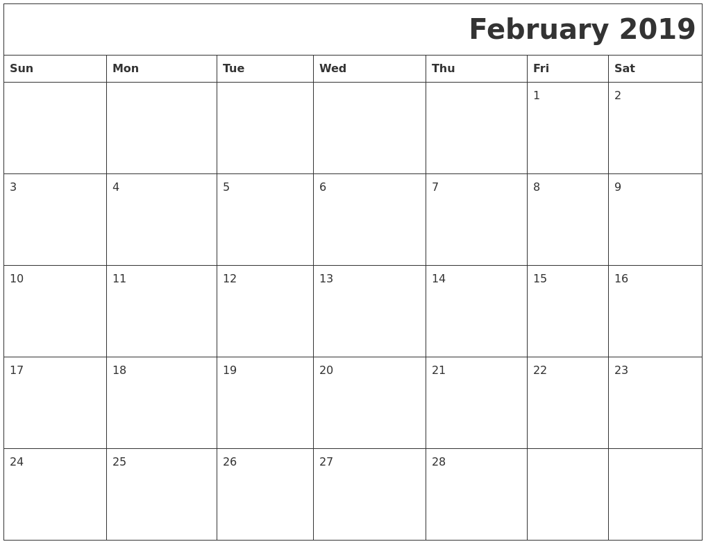 February Calendar 2019.February 2019 Download Calendar