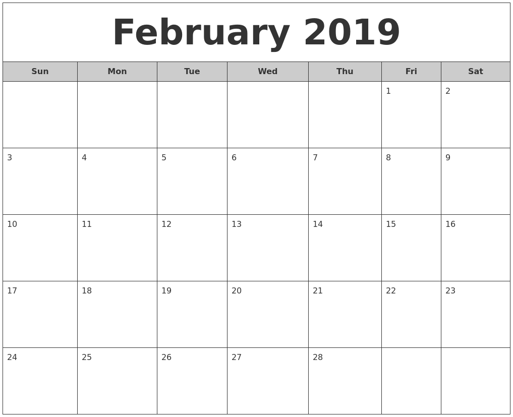 image about Printable Calendar Feb. identified as February 2019 Free of charge Month-to-month Calendar