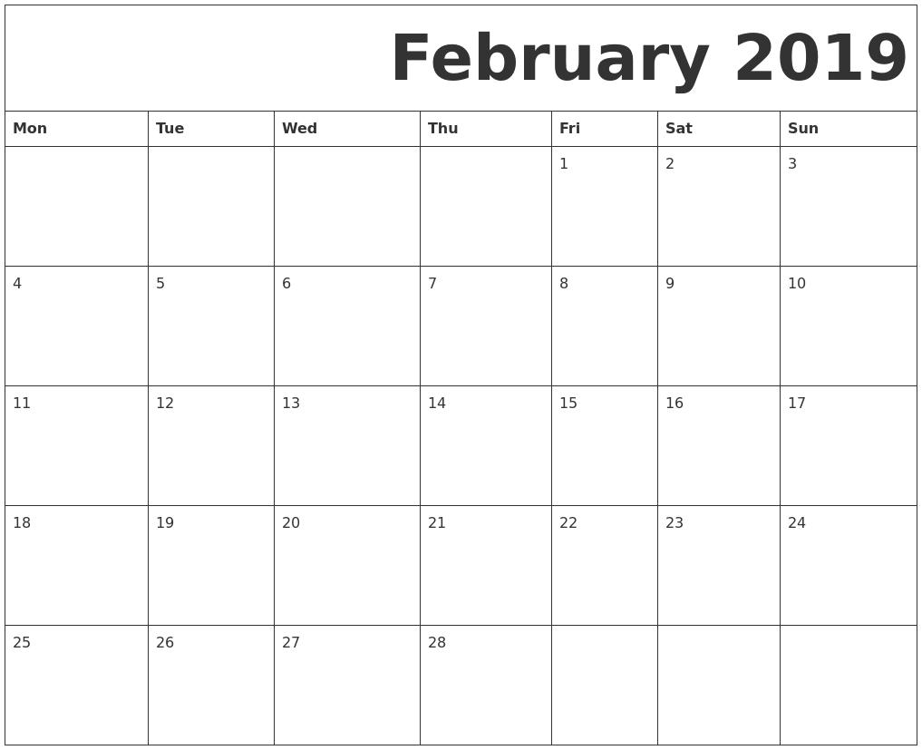 February Calendar Printables : February free printable calendar