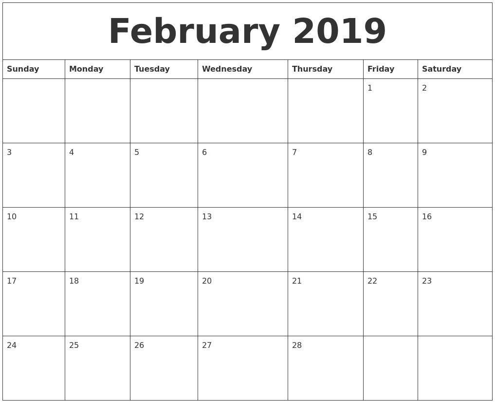 February 2019 Free Printable Monthly Calendar