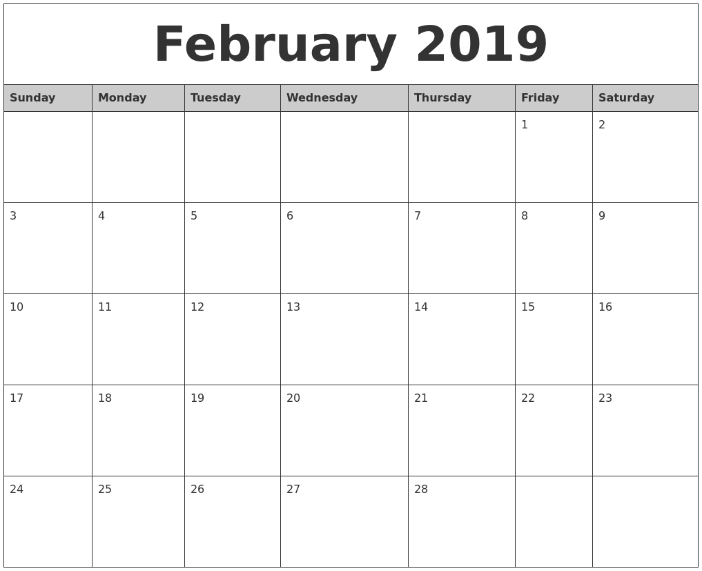 february 2019 monthly calendar printable