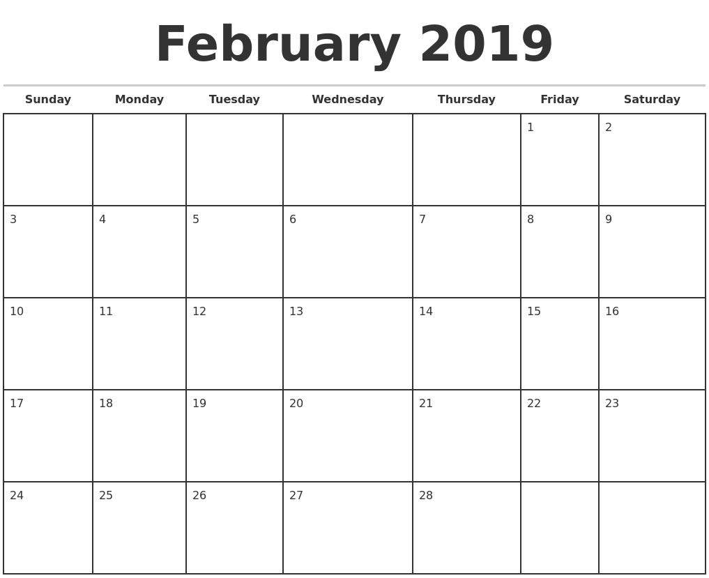 february 2019 monthly calendar template