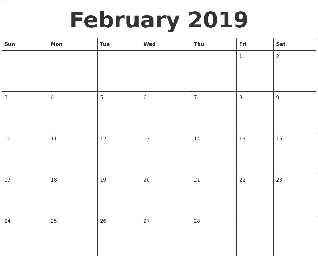 February 2019 Monthly Printable Calendar