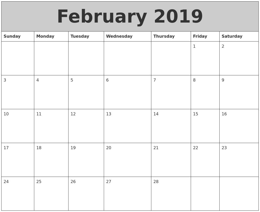 February 2019 My Calendar