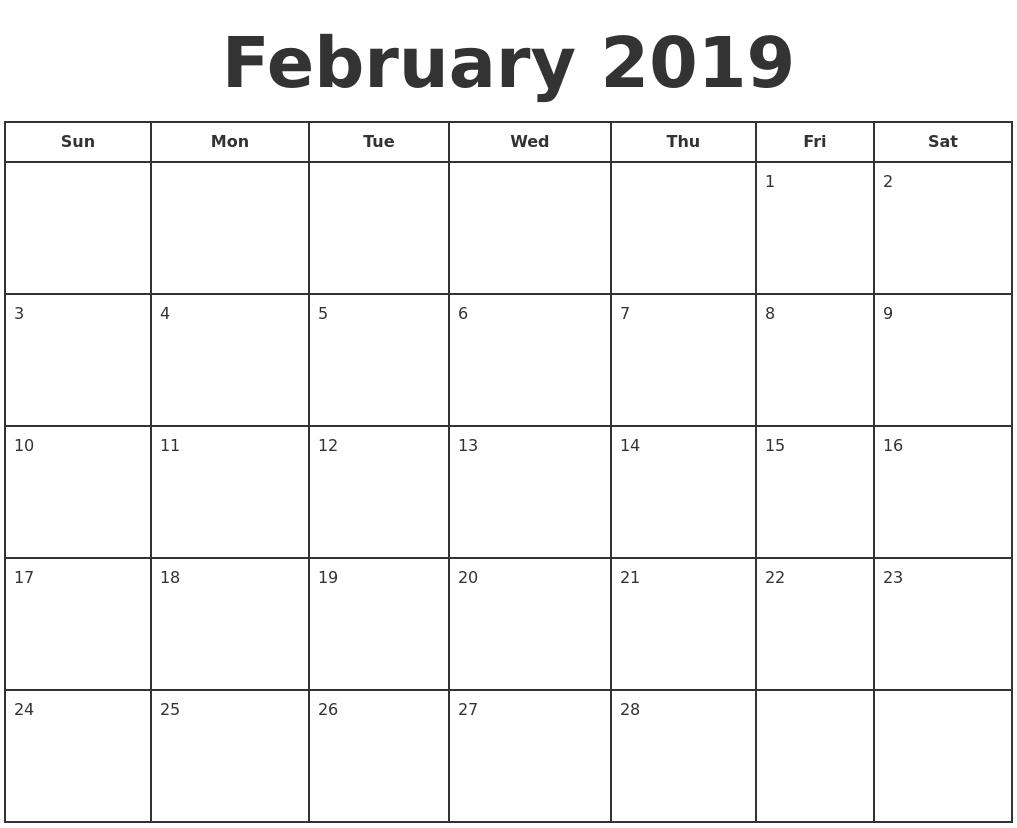 February 2019 Print A Calendar
