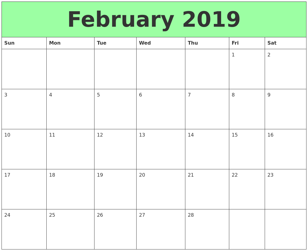 photo regarding Printable Calendar February called February 2019 Printable Calendars