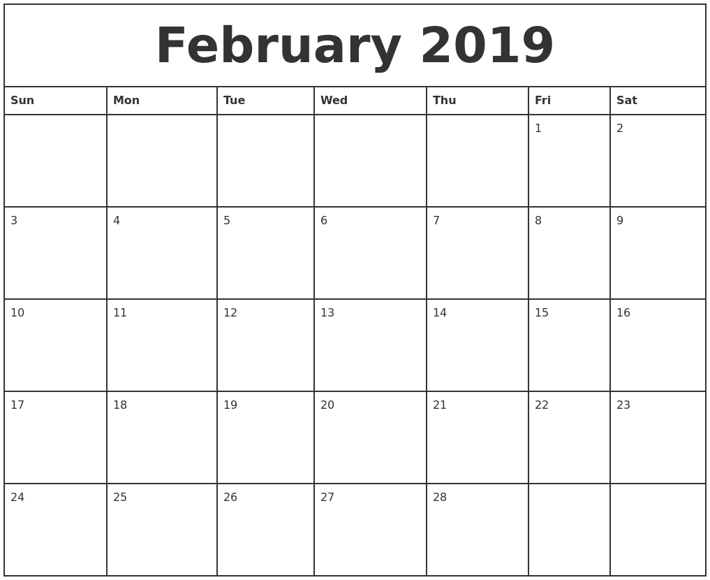february 2019 printable monthly calendar
