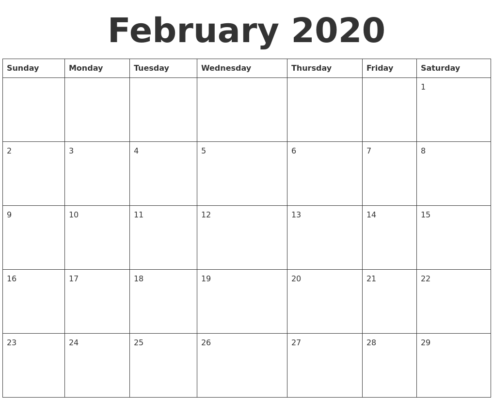 February 2020 Blank Calendar Template
