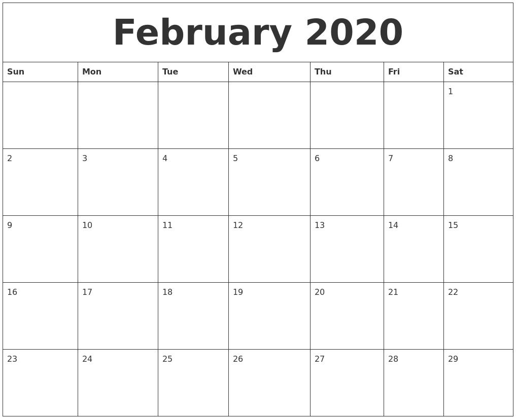 image regarding Printable Calendars for called February 2020 Blank Printable Calendars