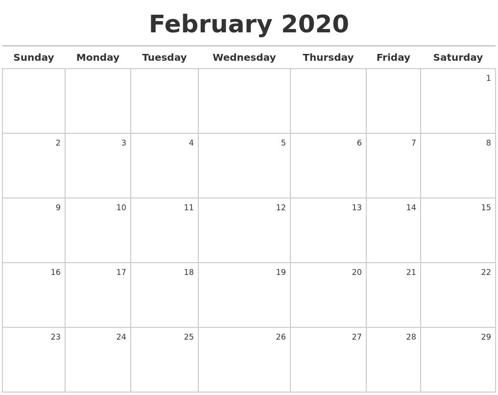 February 2020 Calendar Maker