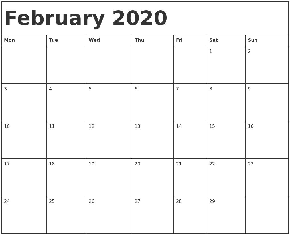 February 2020 Calendar Template PDF's