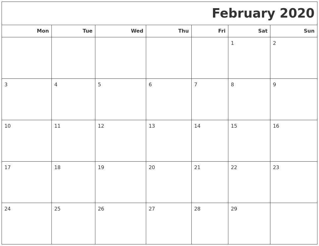 February 2020 Calendars To Print PDF's