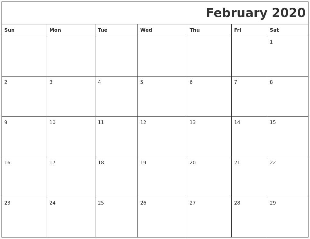 February 2020 Download Calendar