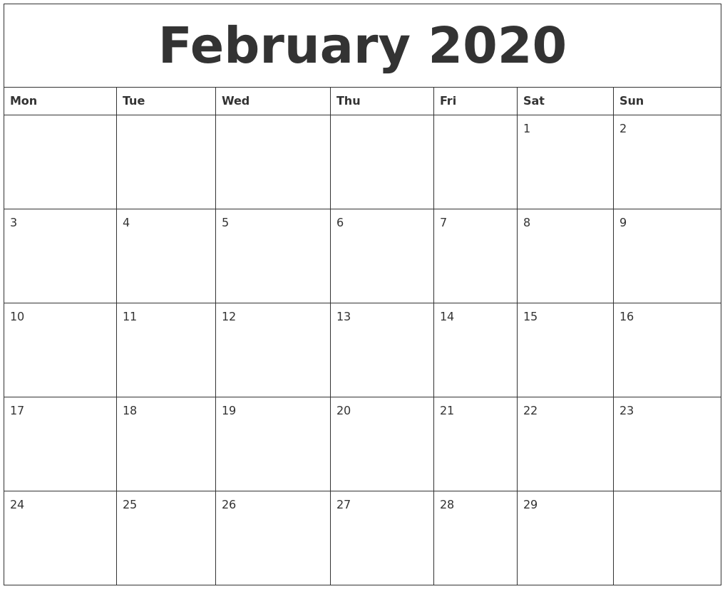 graphic about Feb Calendar Printable identified as February 2020 Absolutely free Calendar Printable