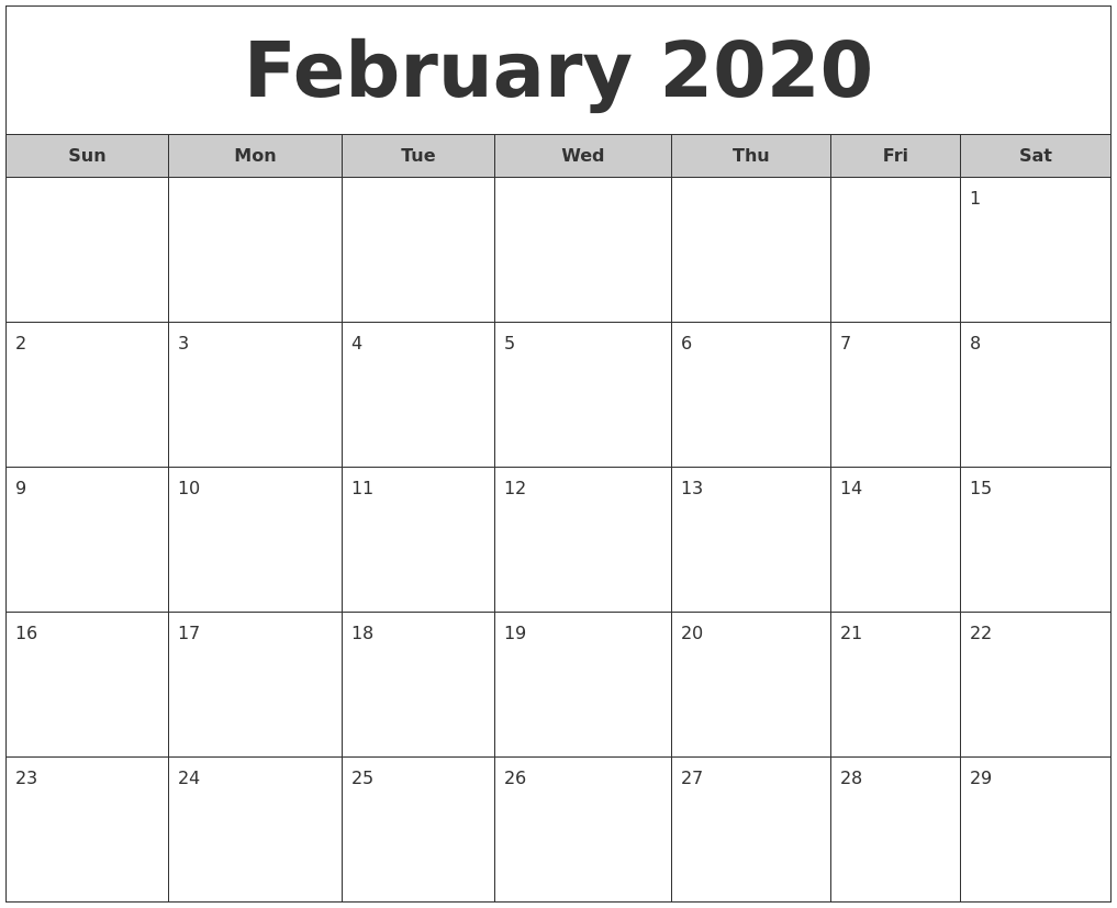 February 2020 Free Monthly Calendar