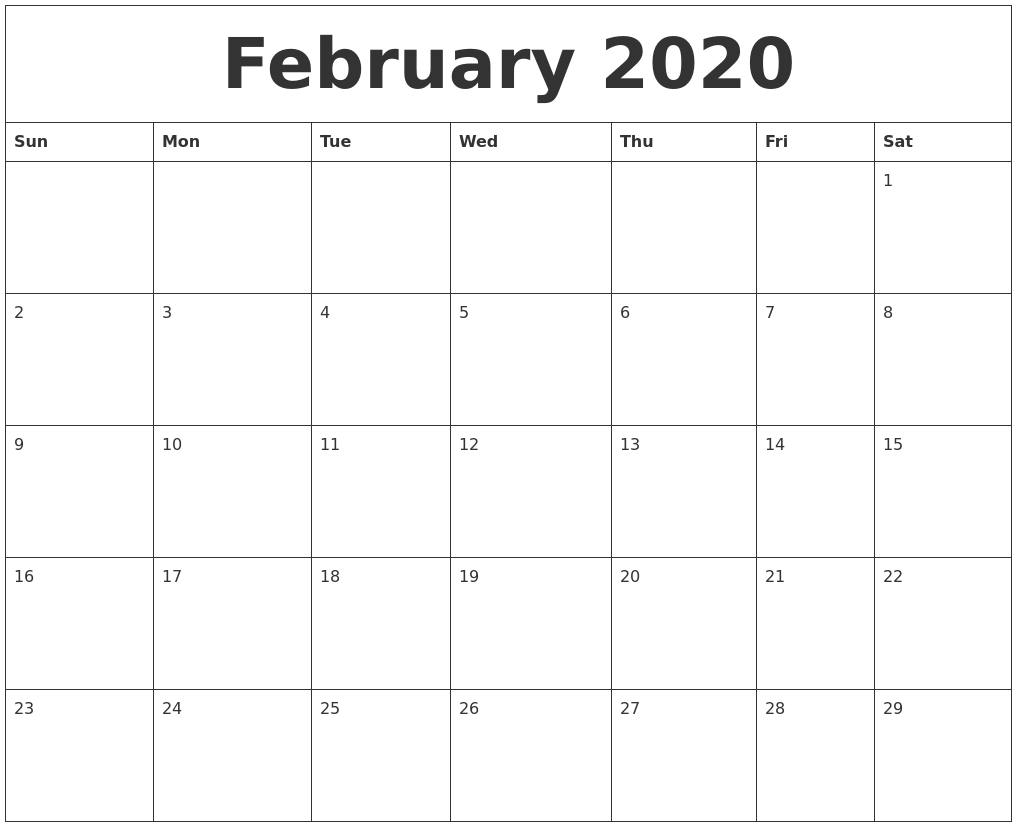 graphic about Printable Calendar 2020 named February 2020 Cost-free Printable Calendar Templates