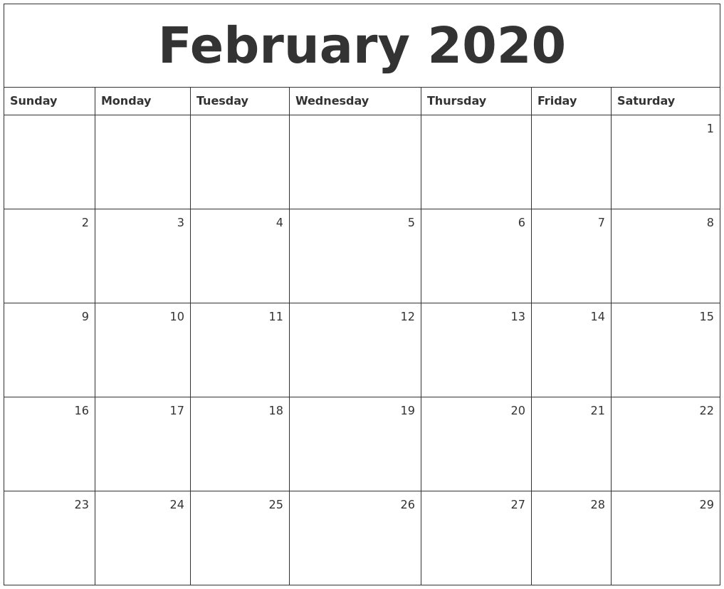 It is a graphic of Irresistible Free Printable Monthly 2020 Calendars