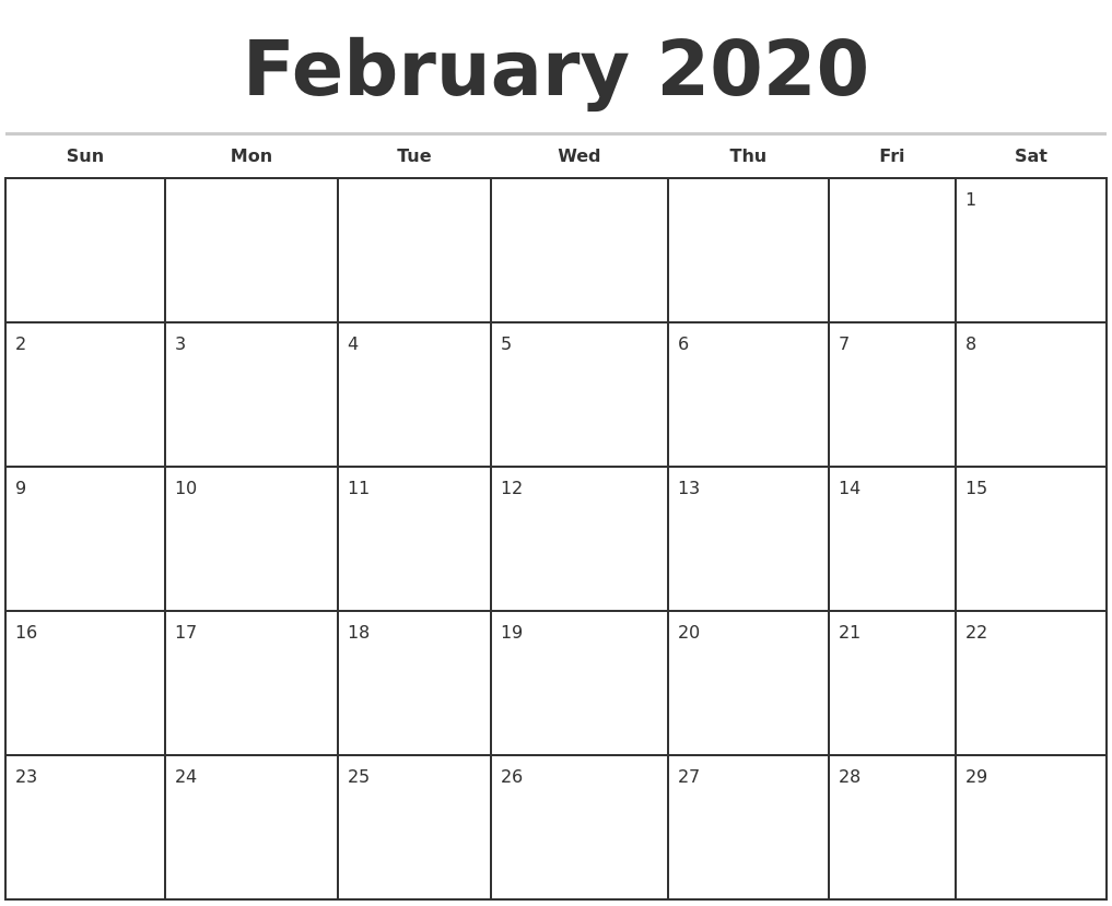 February 2020 Monthly Calendar Template