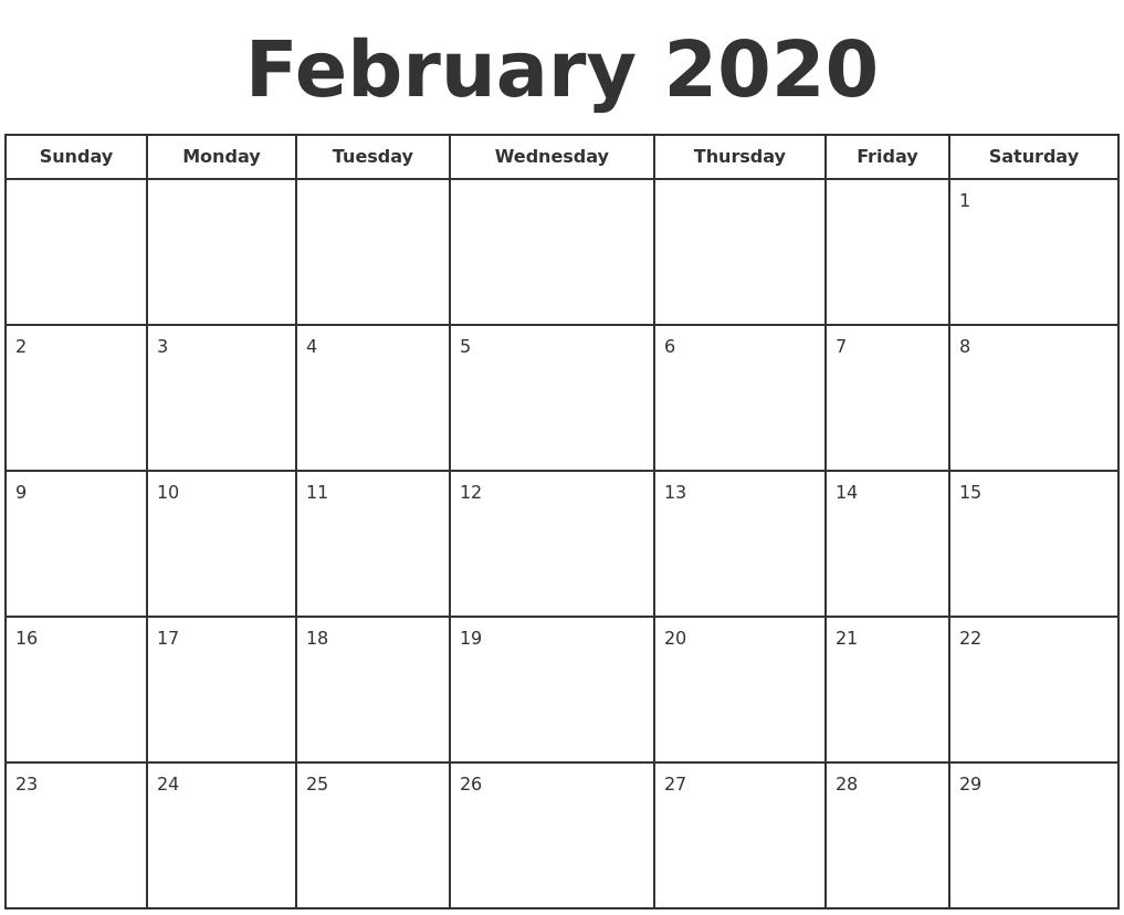 February 2020 Print A Calendar PDF's