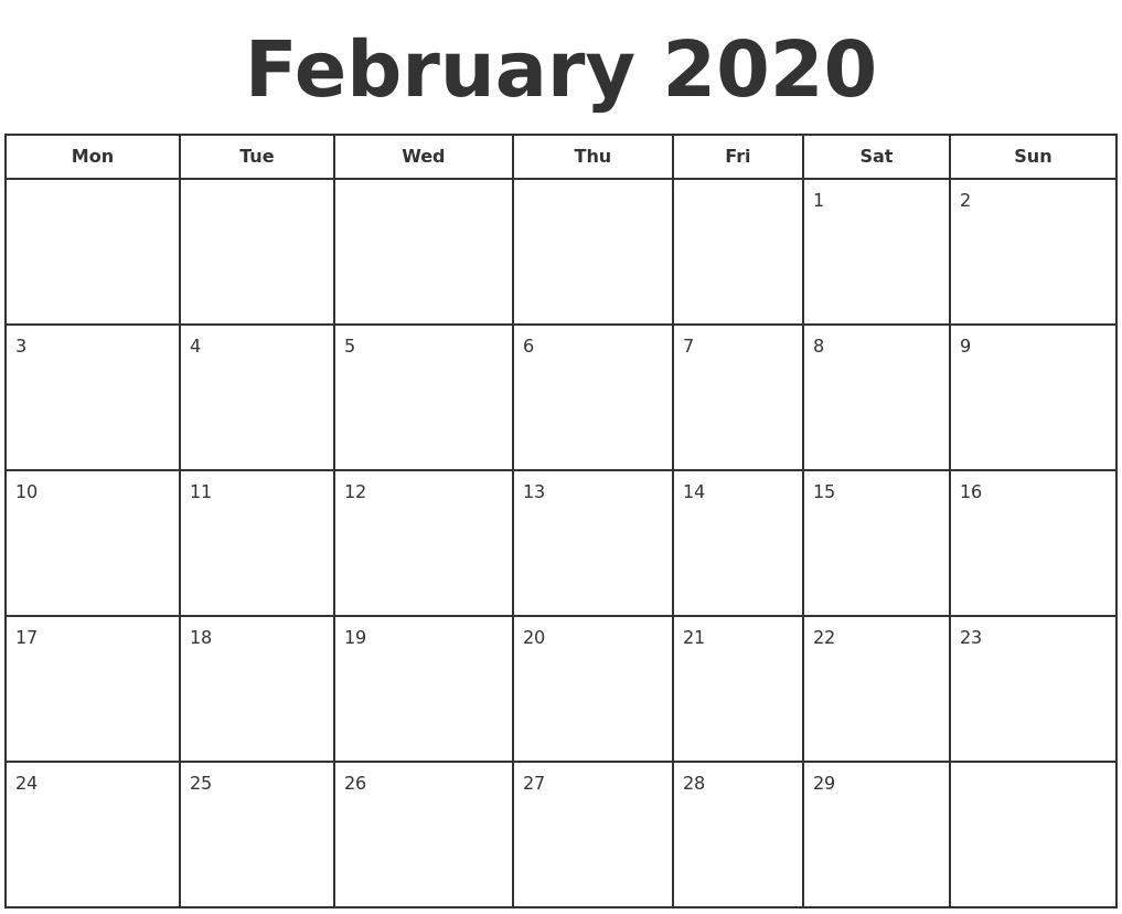 This is a photo of Critical Free Printable Calendars Feb 2020