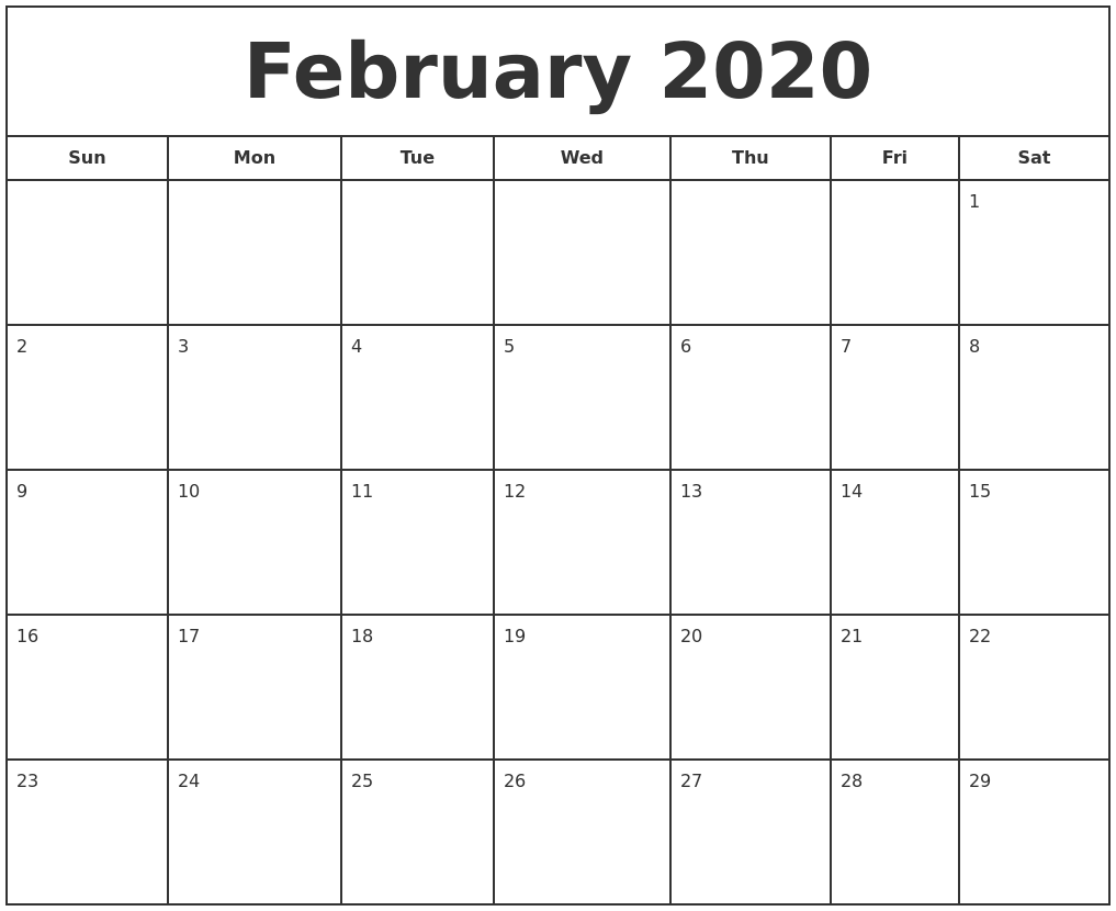 It is a picture of Gutsy Free Printable Calendars February 2020