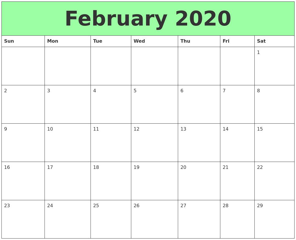 picture regarding February Printable Calendar titled February 2020 Printable Calendars