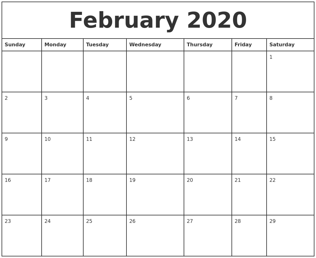 February 2020 Printable Monthly Calendar