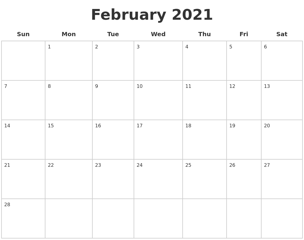 February 2021 Blank Calendar Pages