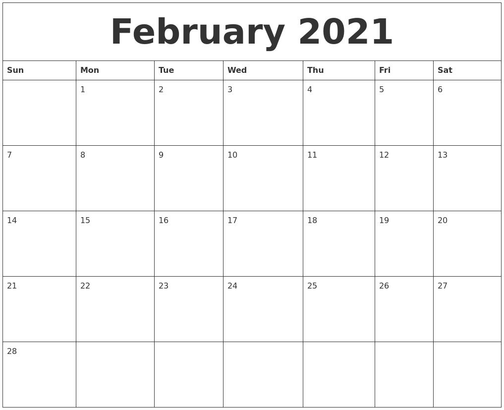 February 2021 Blank Monthly Calendar Template