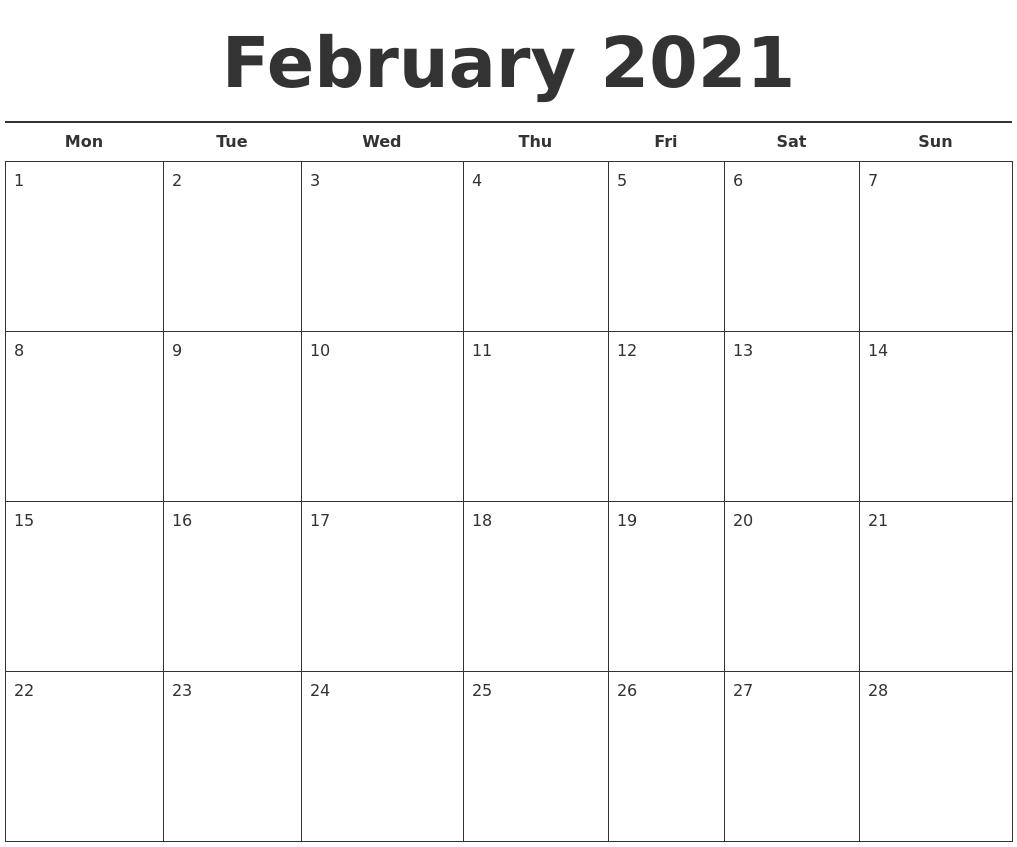 February 2021 Free Calendar Template PDF's