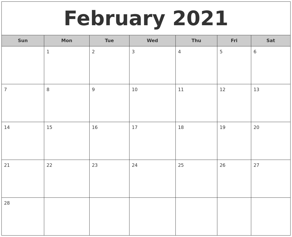 February 2021 Free Monthly Calendar