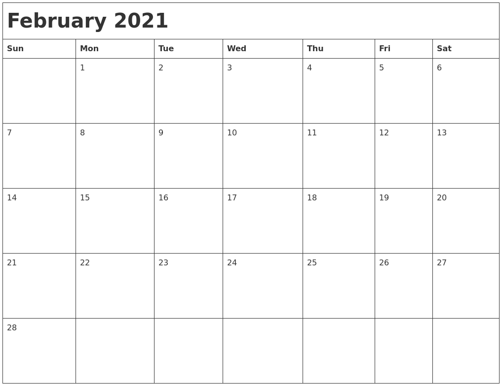 February 2021 Month Calendar