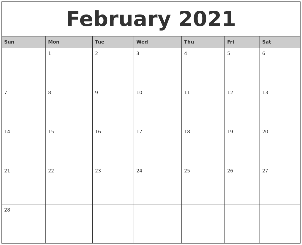 February 2021 Monthly Calendar Printable