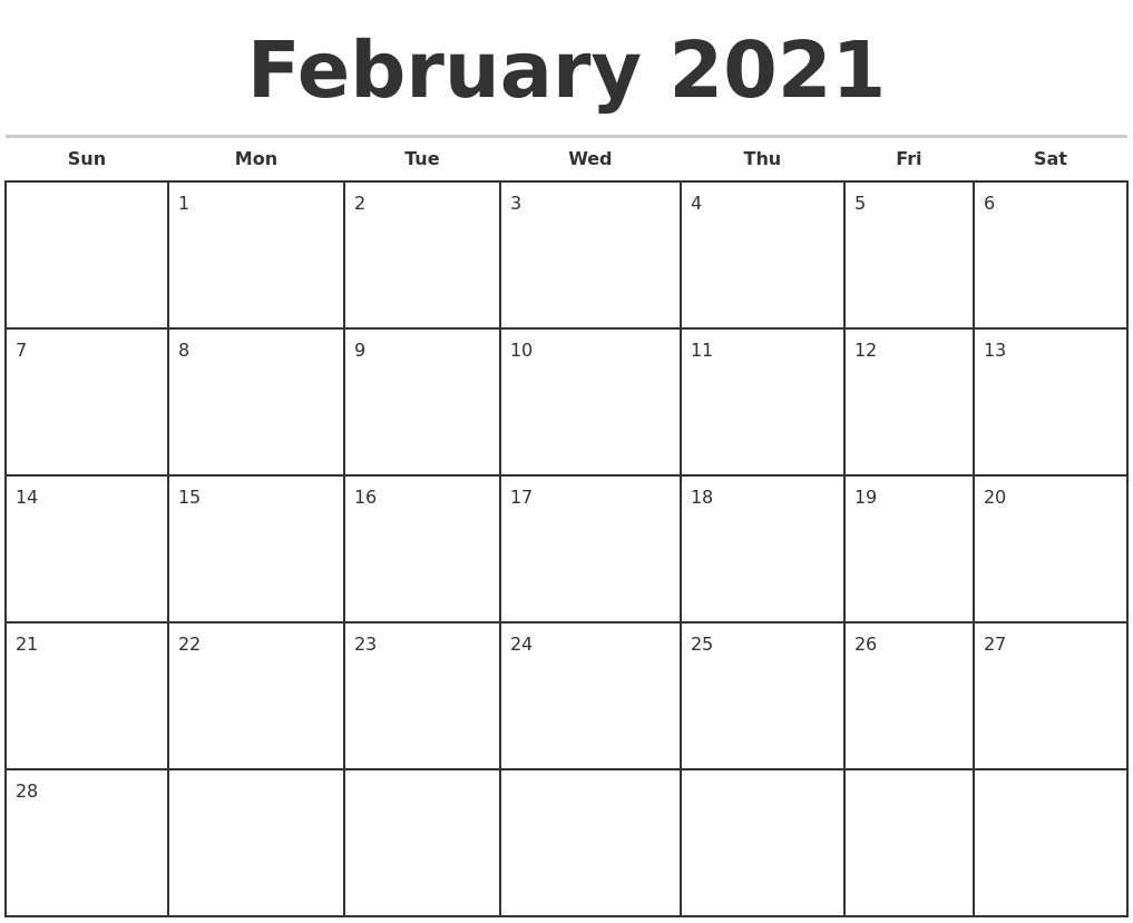 February 2021 Monthly Calendar Template