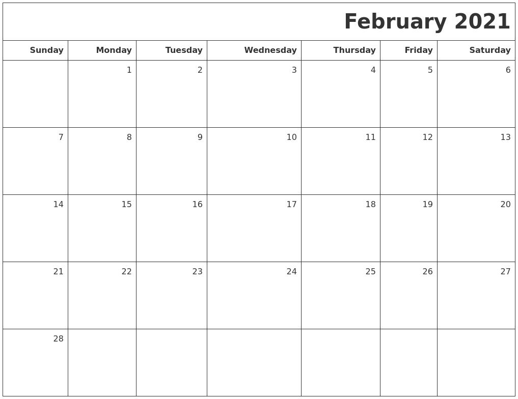 February 2021 Printable Blank Calendar