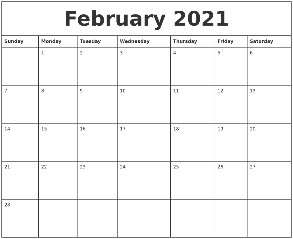 February 2021 Printable Monthly Calendar PDF's
