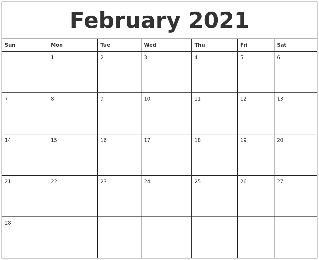 February 2021 Printable Monthly Calendar