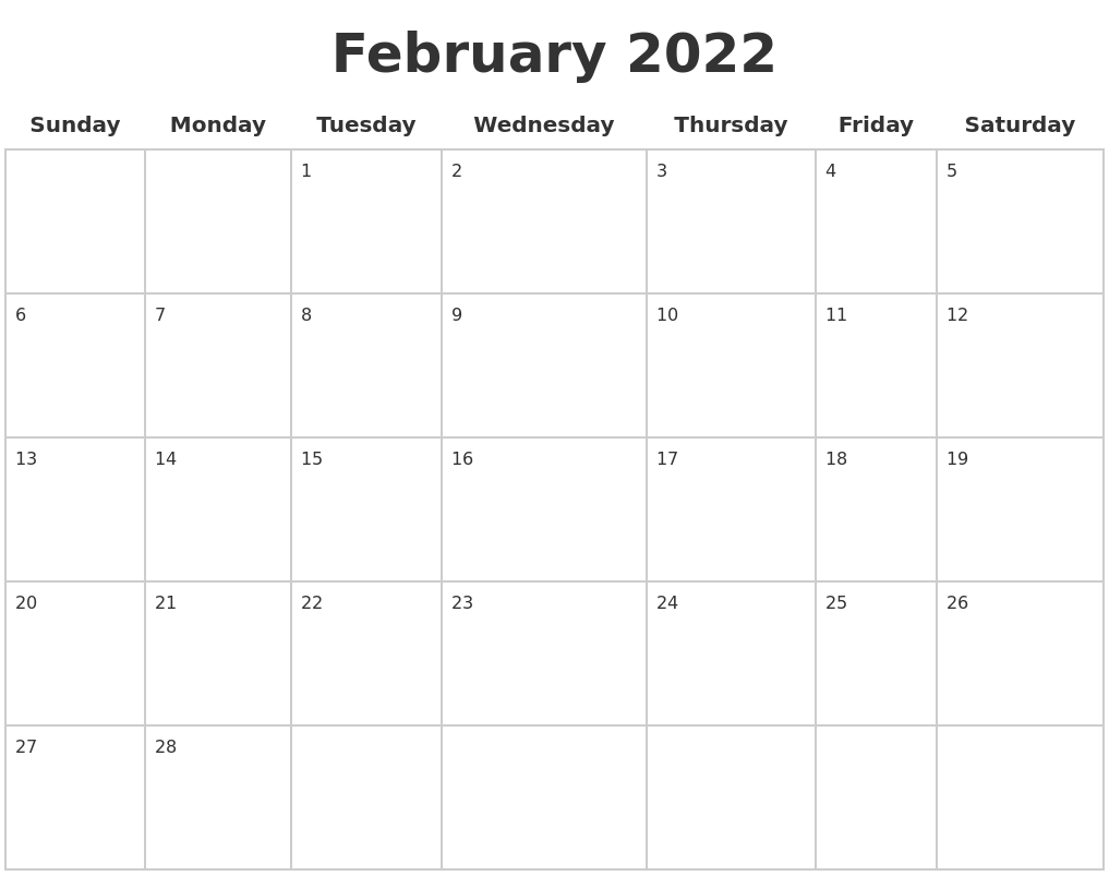 February 2022 Blank Calendar Pages