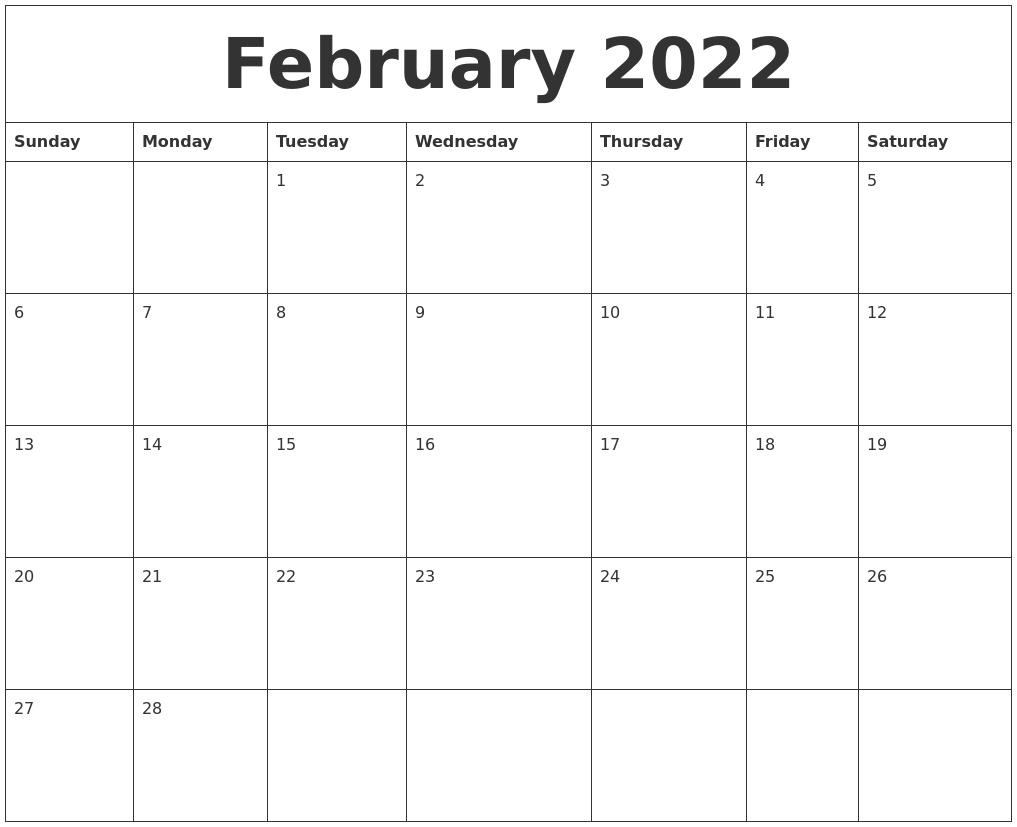 Febuary 2022 Calendar.February 2022 Calendar