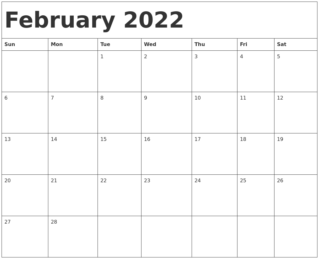 Calendar Feb 2022 Printable.February 2022 Calendar Template