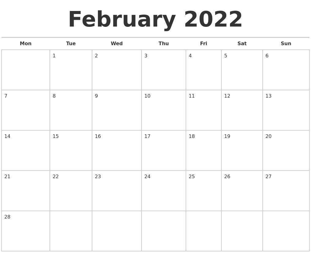 February 2022 Calendars Free PDF's
